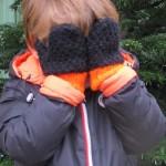 Tricot, moufles en laine taille 4-6 ans